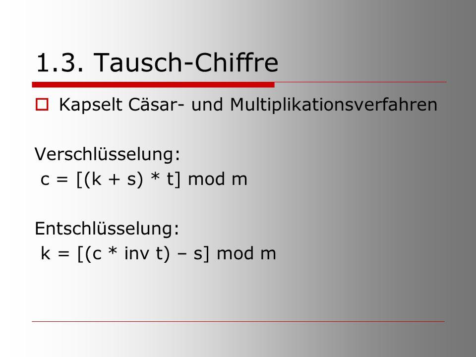 1.3. Tausch-Chiffre Kapselt Cäsar- und Multiplikationsverfahren