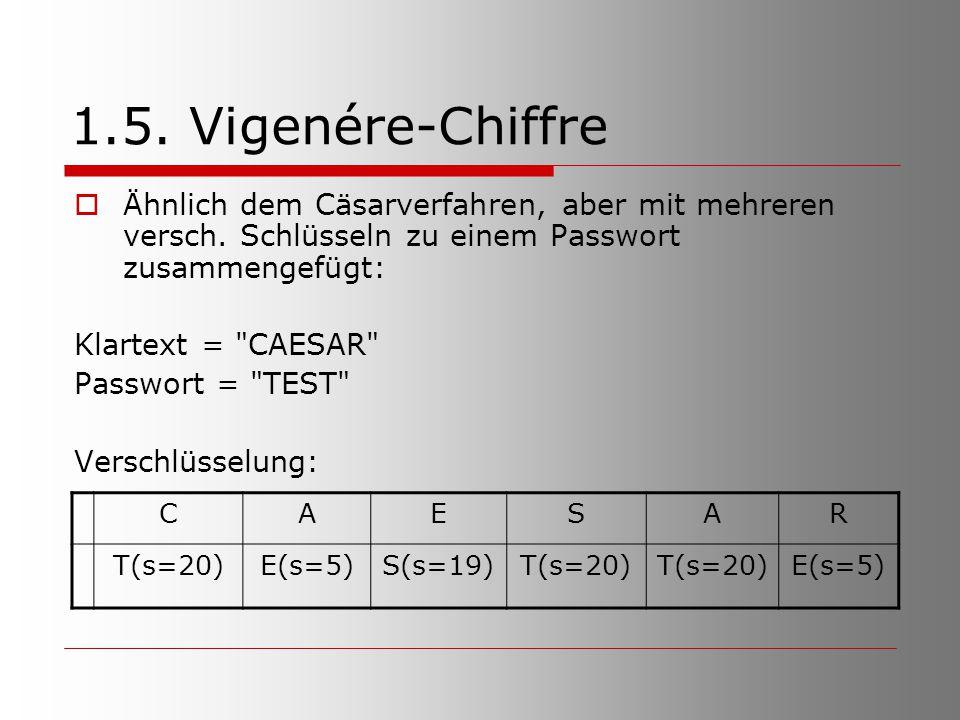 1.5. Vigenére-Chiffre Ähnlich dem Cäsarverfahren, aber mit mehreren versch. Schlüsseln zu einem Passwort zusammengefügt: