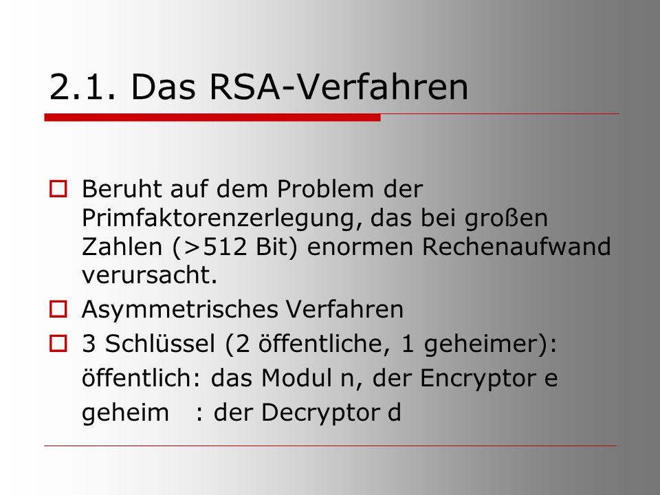 2.1. Das RSA-Verfahren Beruht auf dem Problem der Primfaktorenzerlegung, das bei großen Zahlen (>512 Bit) enormen Rechenaufwand verursacht.