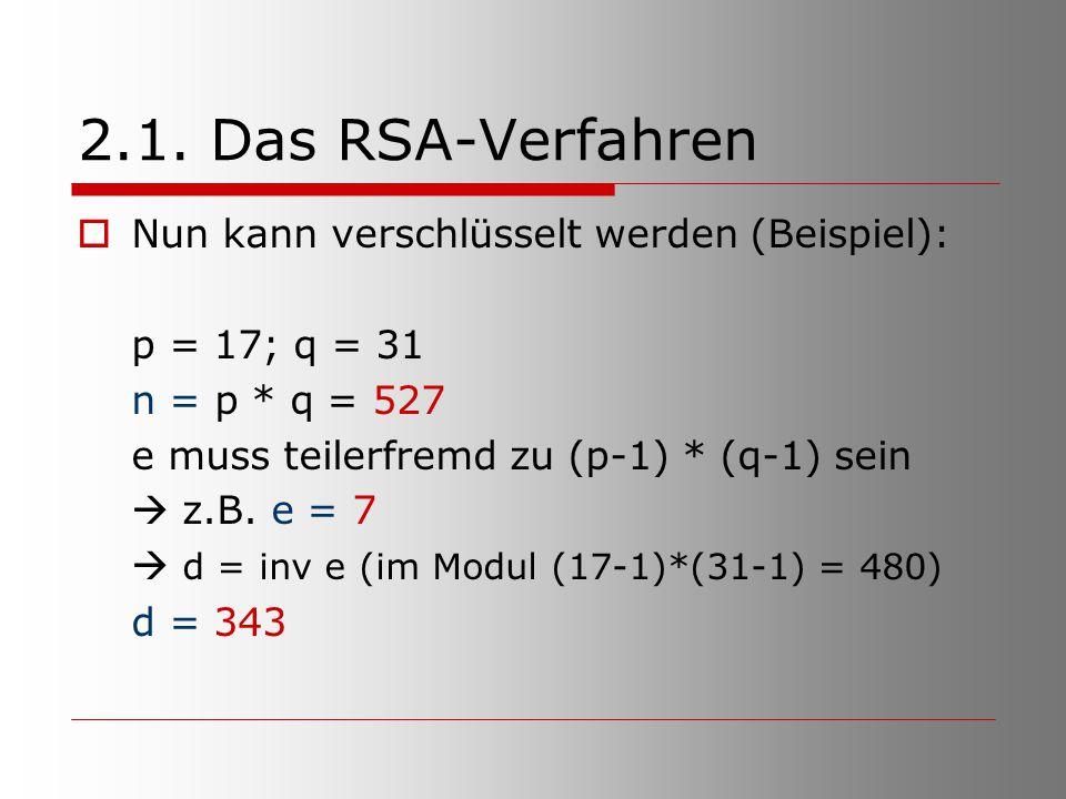 2.1. Das RSA-Verfahren Nun kann verschlüsselt werden (Beispiel):