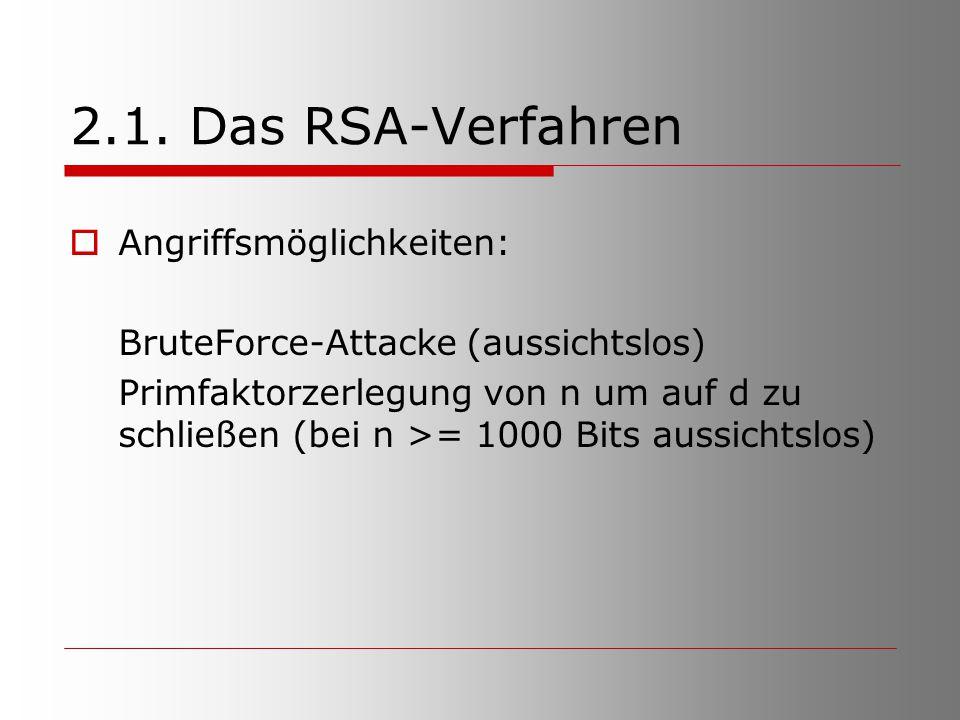 2.1. Das RSA-Verfahren Angriffsmöglichkeiten: