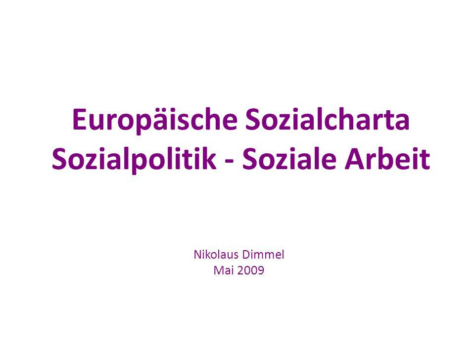 Europäische Sozialcharta Sozialpolitik - Soziale Arbeit