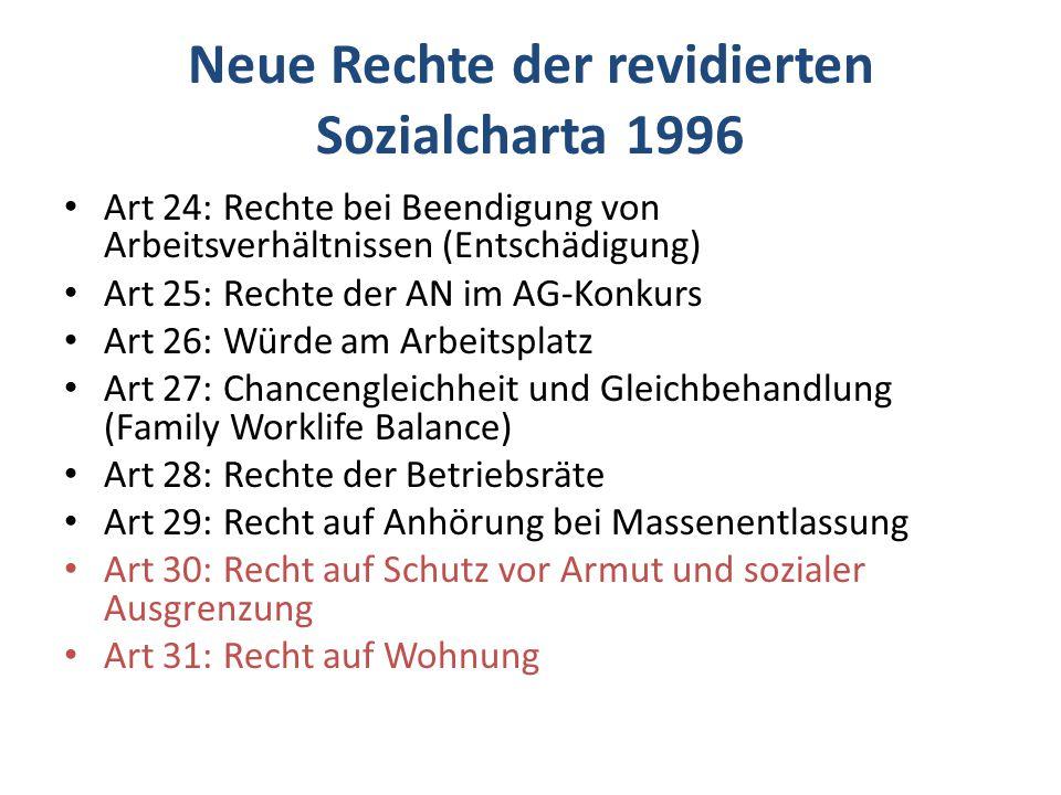 Neue Rechte der revidierten Sozialcharta 1996