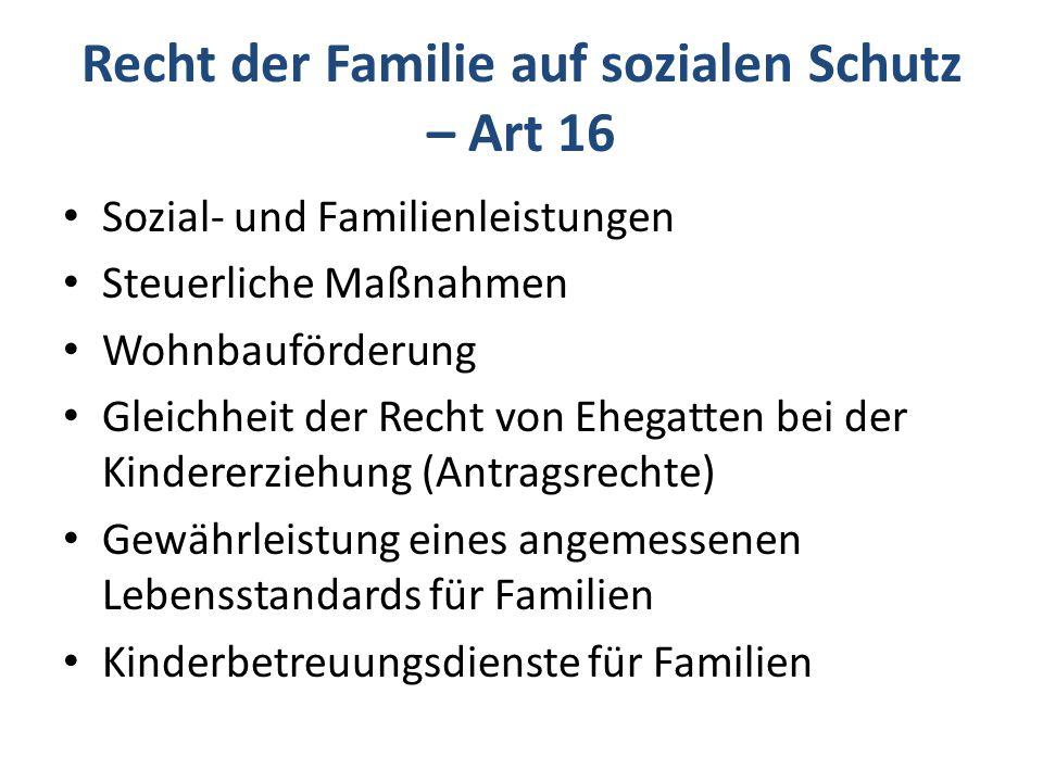 Recht der Familie auf sozialen Schutz – Art 16