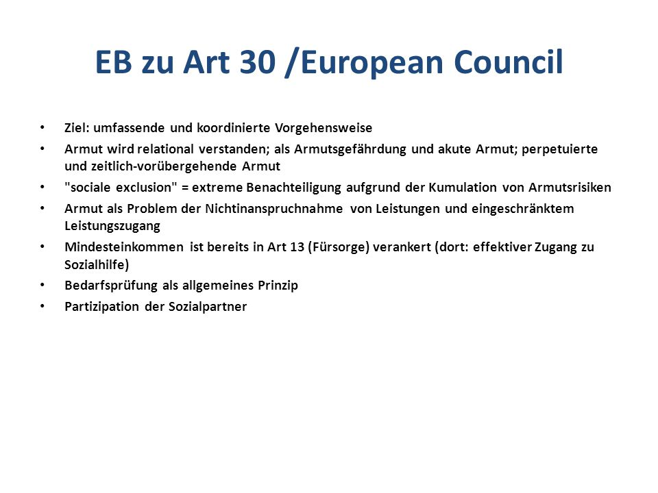 EB zu Art 30 /European Council
