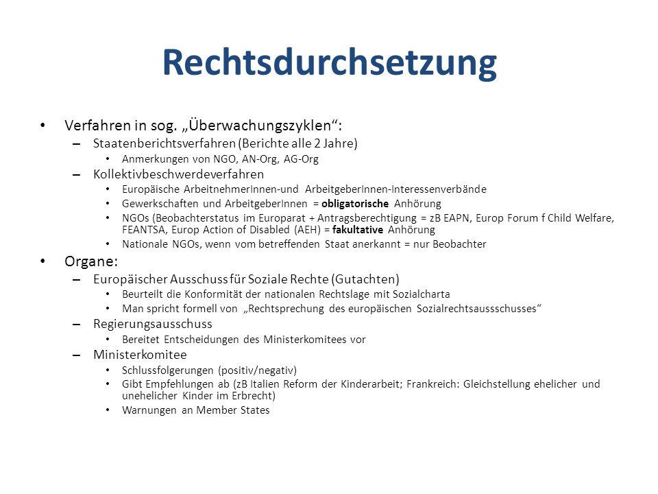 """Rechtsdurchsetzung Verfahren in sog. """"Überwachungszyklen : Organe:"""