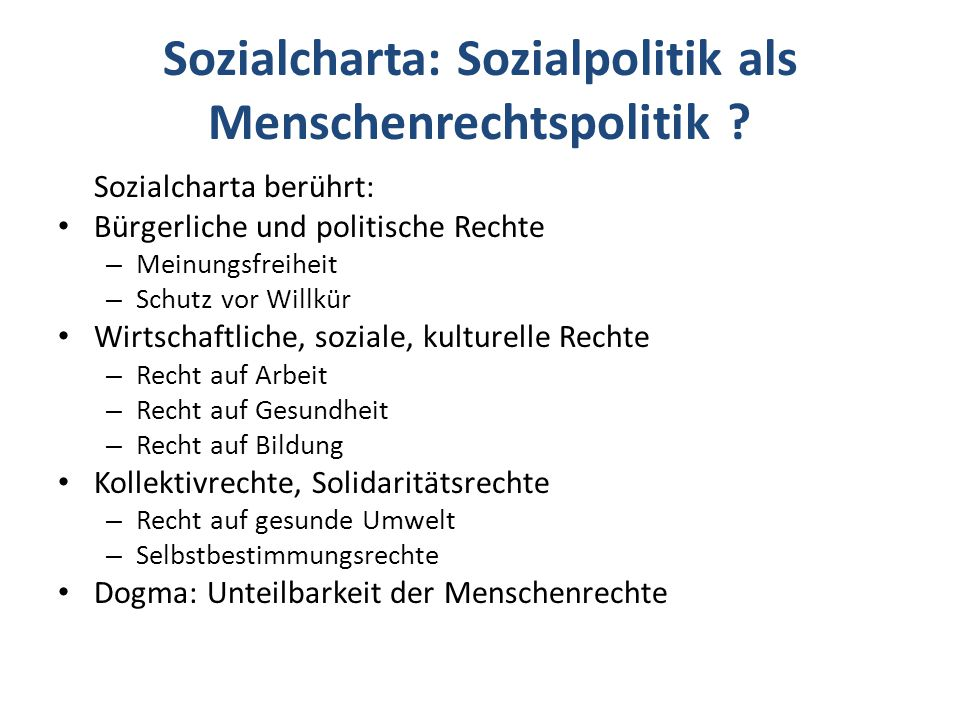 Sozialcharta: Sozialpolitik als Menschenrechtspolitik