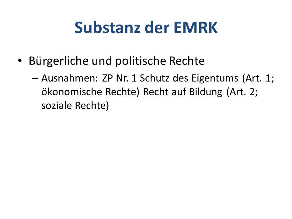 Substanz der EMRK Bürgerliche und politische Rechte
