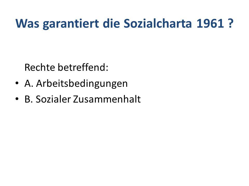 Was garantiert die Sozialcharta 1961