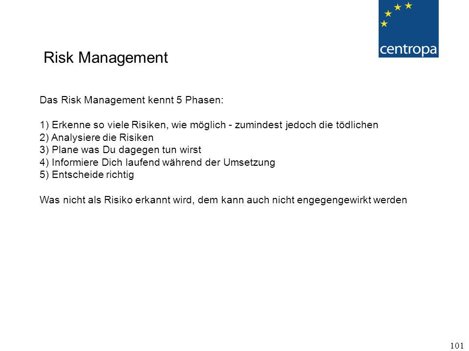 Risk Management Das Risk Management kennt 5 Phasen: