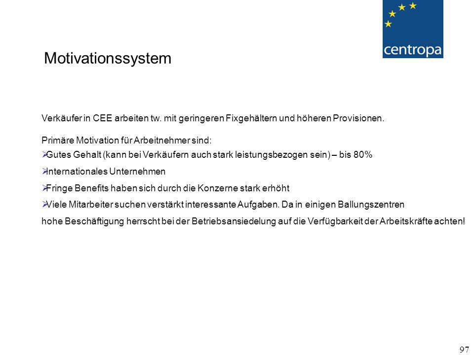 Motivationssystem Verkäufer in CEE arbeiten tw. mit geringeren Fixgehältern und höheren Provisionen.