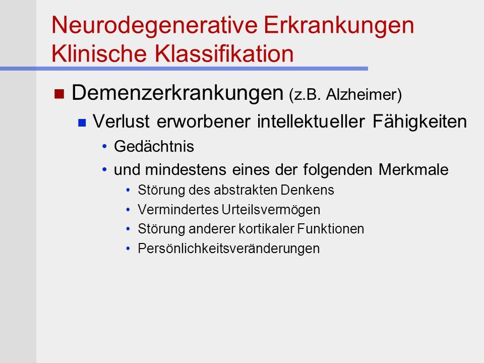 Neurodegenerative Erkrankungen Klinische Klassifikation