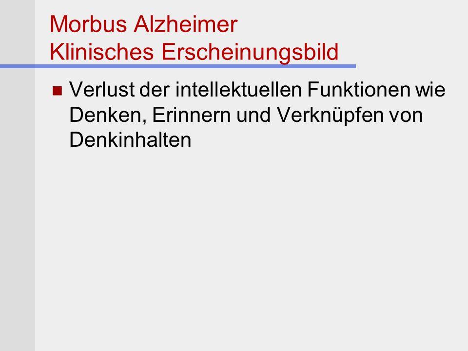 Morbus Alzheimer Klinisches Erscheinungsbild
