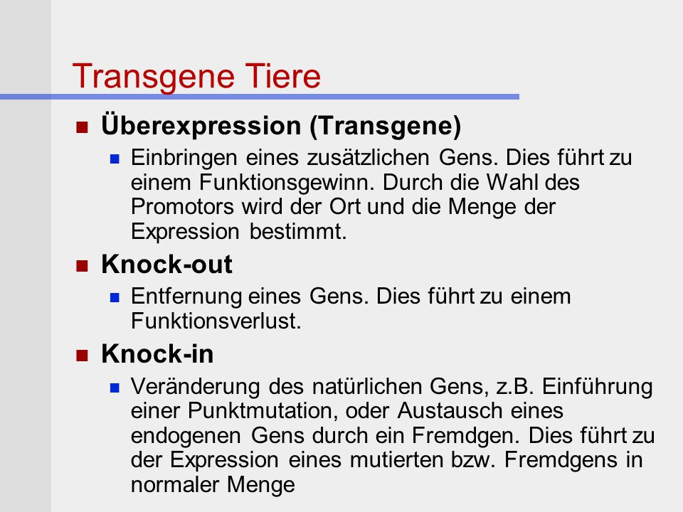 Transgene Tiere Überexpression (Transgene) Knock-out Knock-in