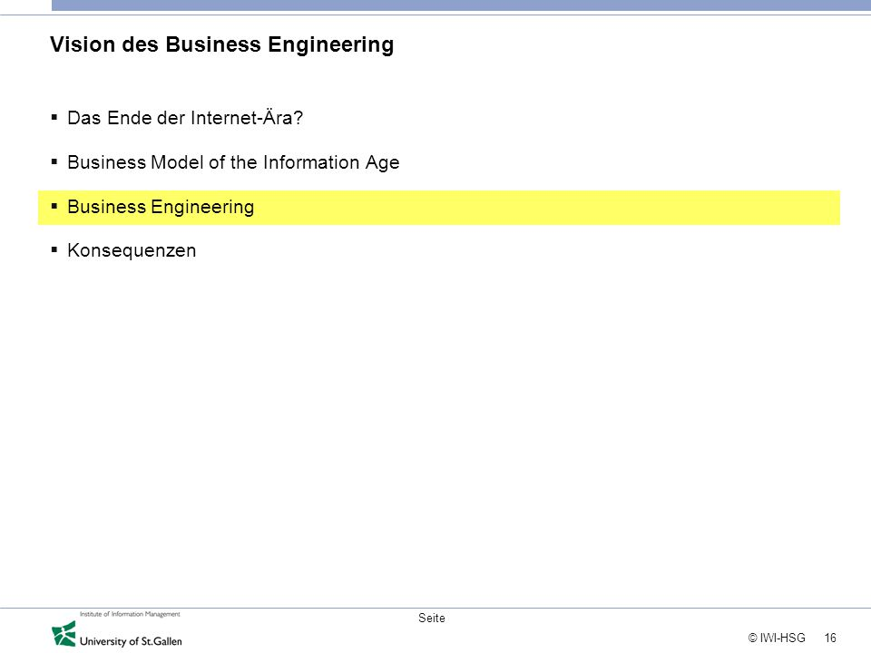 Vision des Business Engineering