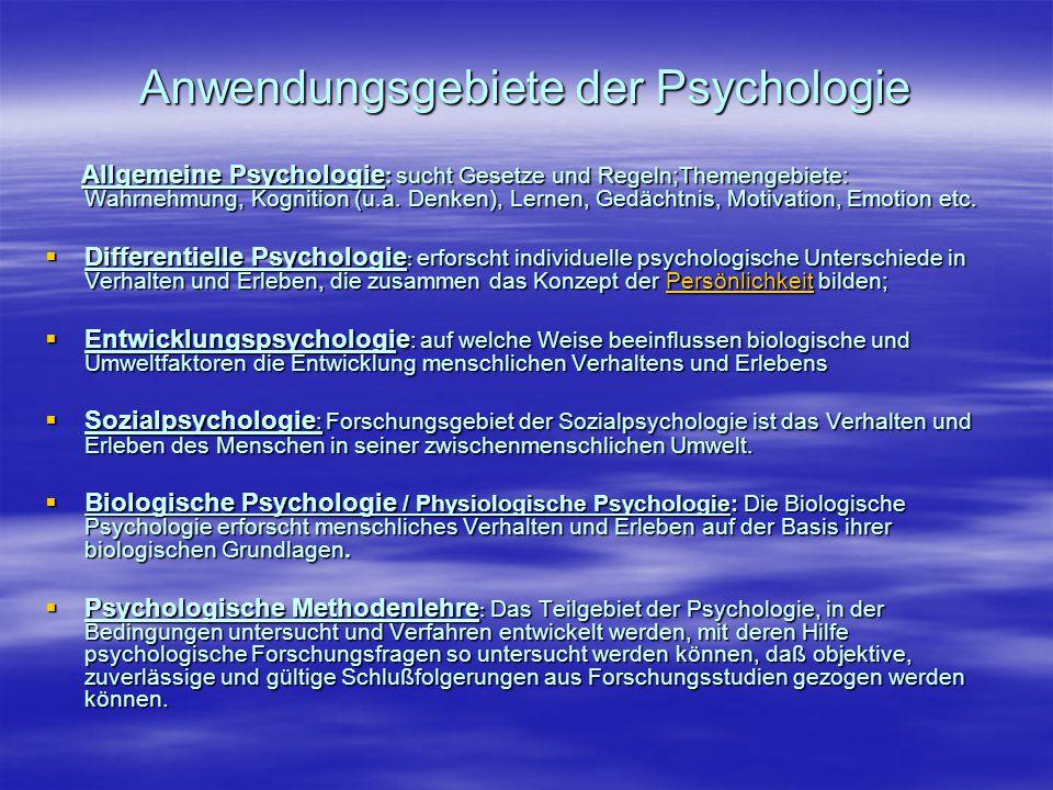 Anwendungsgebiete der Psychologie