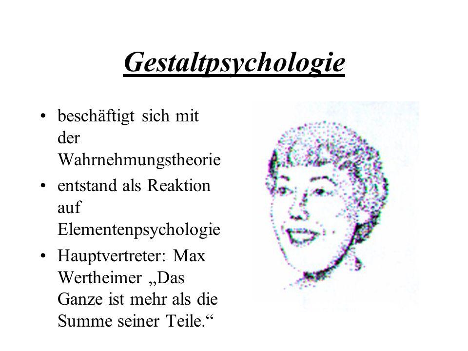 Gestaltpsychologie beschäftigt sich mit der Wahrnehmungstheorie
