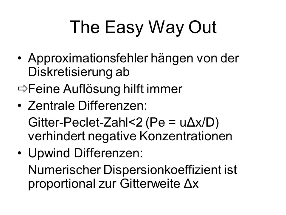 The Easy Way Out Approximationsfehler hängen von der Diskretisierung ab. Feine Auflösung hilft immer.