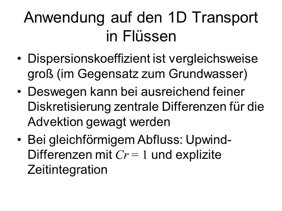 Anwendung auf den 1D Transport in Flüssen