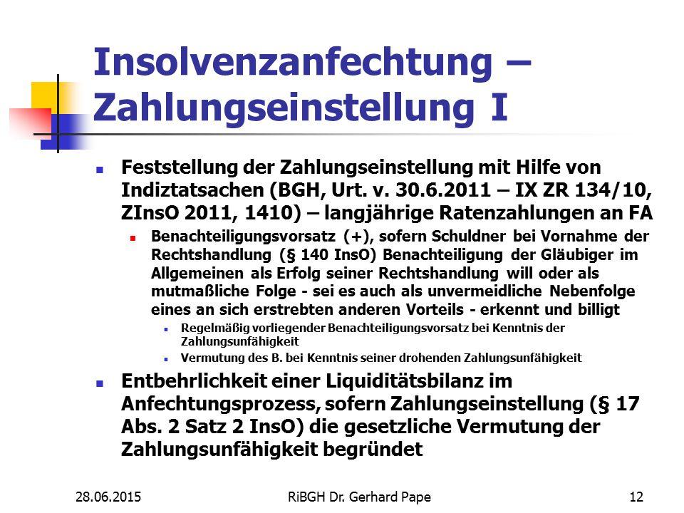 Insolvenzanfechtung – Zahlungseinstellung I