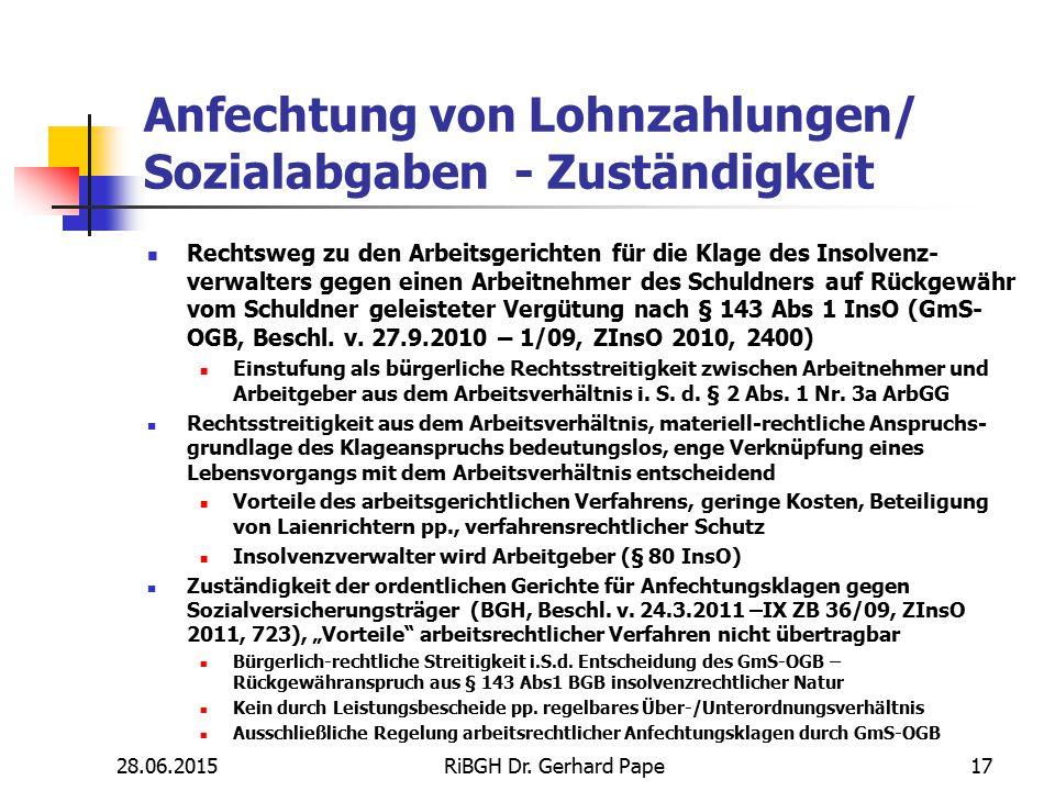 Anfechtung von Lohnzahlungen/ Sozialabgaben - Zuständigkeit