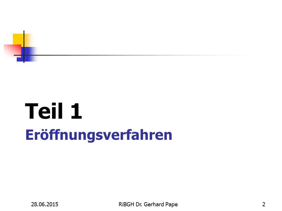 Teil 1 Eröffnungsverfahren 17.04.2017 RiBGH Dr. Gerhard Pape 2 2