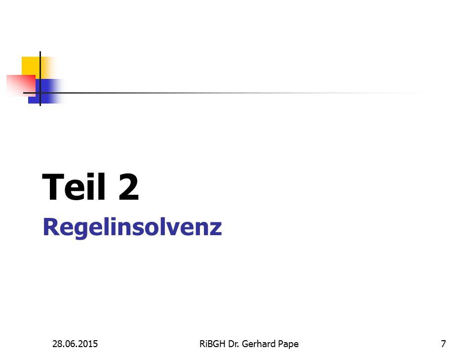 Teil 2 Regelinsolvenz 17.04.2017 RiBGH Dr. Gerhard Pape 7 7