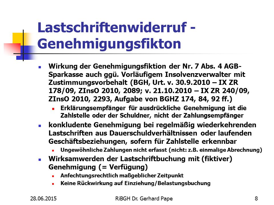 Lastschriftenwiderruf - Genehmigungsfikton