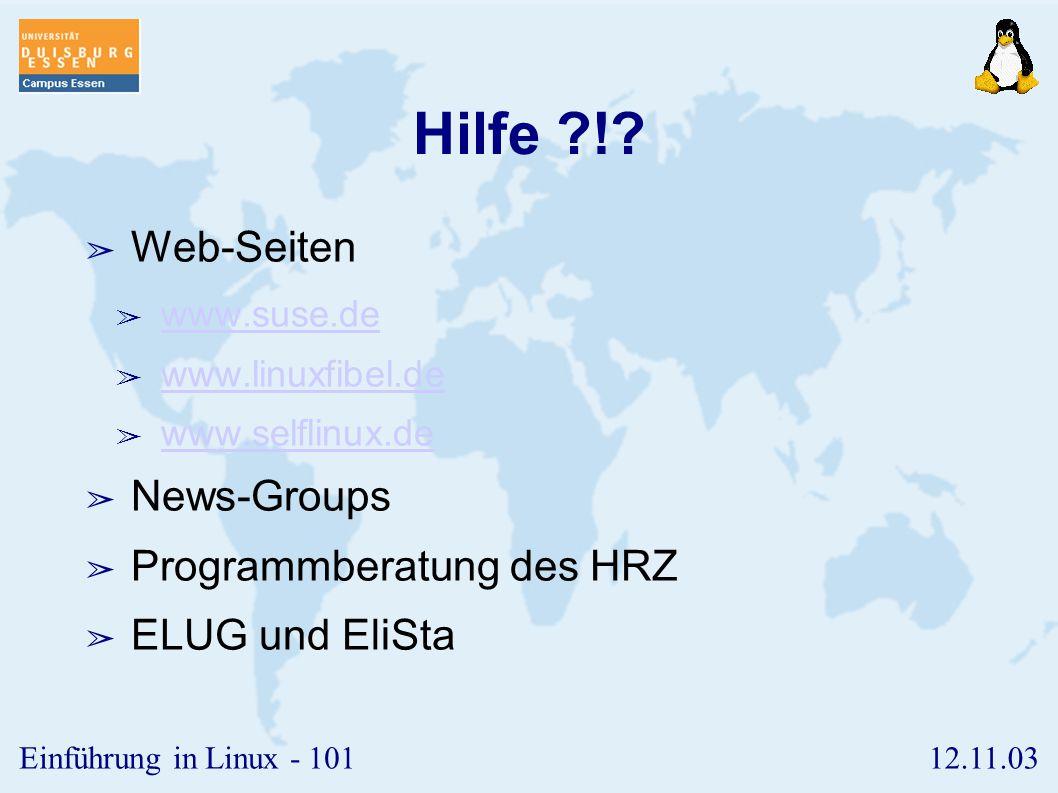 Hilfe ! Web-Seiten News-Groups Programmberatung des HRZ