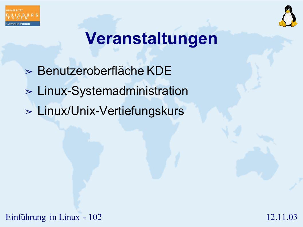 Veranstaltungen Benutzeroberfläche KDE Linux-Systemadministration