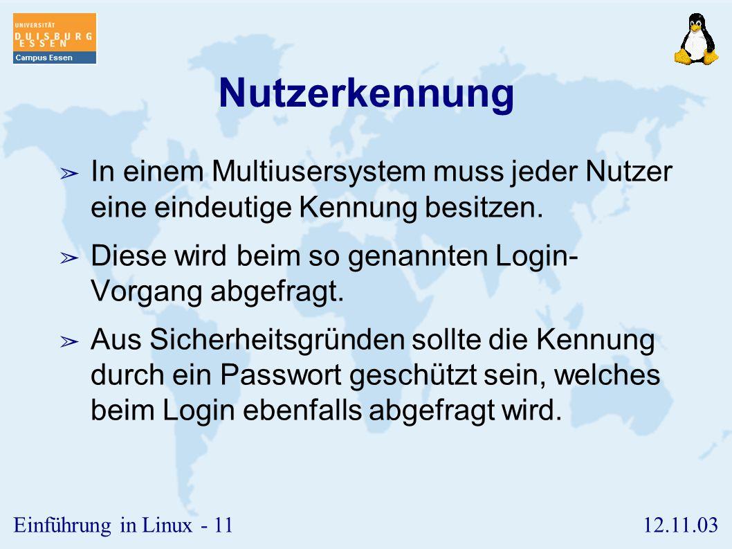 Nutzerkennung In einem Multiusersystem muss jeder Nutzer eine eindeutige Kennung besitzen. Diese wird beim so genannten Login- Vorgang abgefragt.