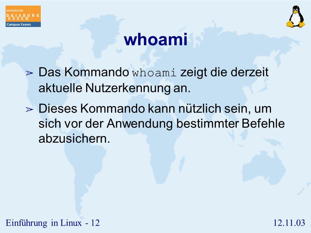 whoami Das Kommando whoami zeigt die derzeit aktuelle Nutzerkennung an.