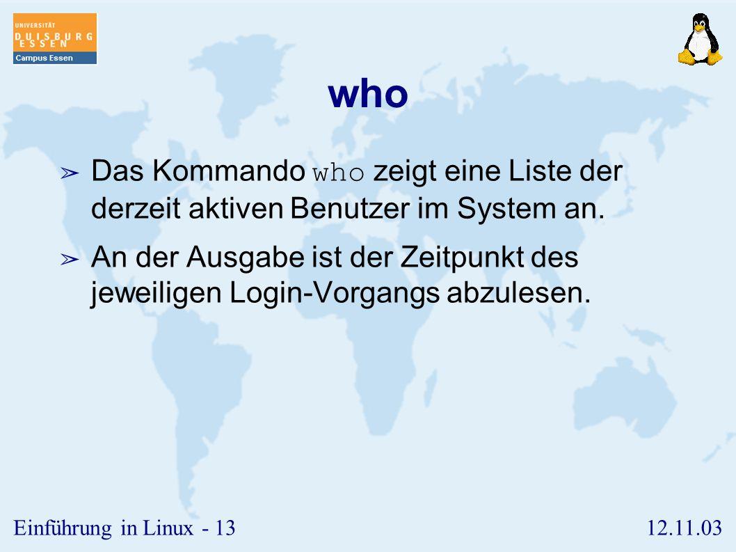 who Das Kommando who zeigt eine Liste der derzeit aktiven Benutzer im System an.