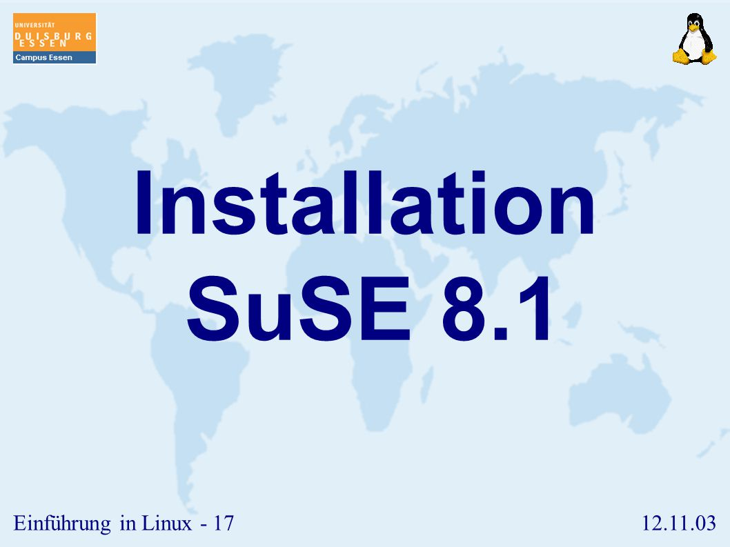 Installation SuSE 8.1