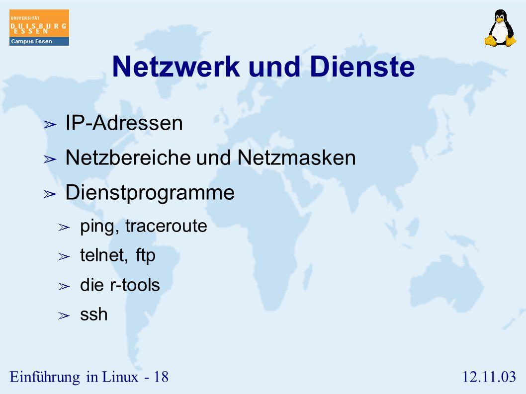 Netzwerk und Dienste IP-Adressen Netzbereiche und Netzmasken