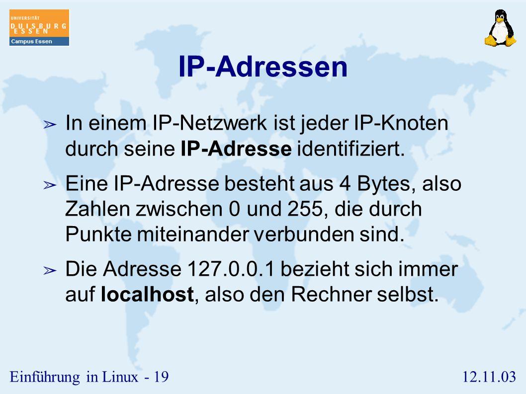 IP-Adressen In einem IP-Netzwerk ist jeder IP-Knoten durch seine IP-Adresse identifiziert.