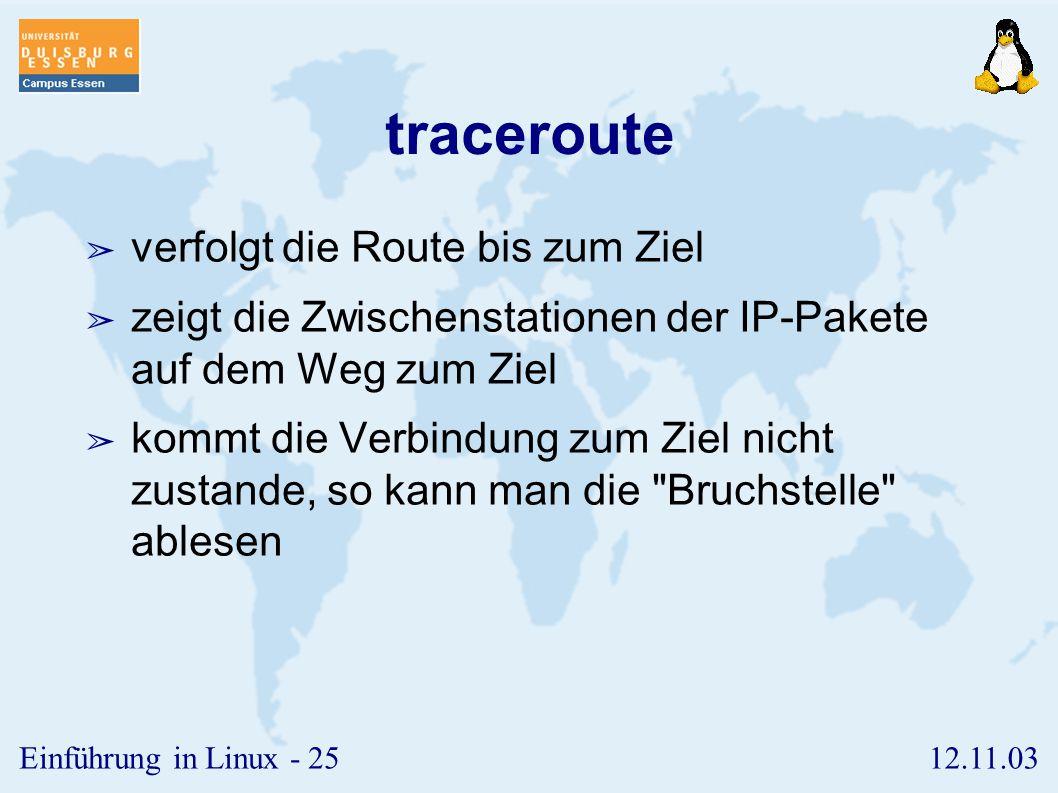 traceroute verfolgt die Route bis zum Ziel