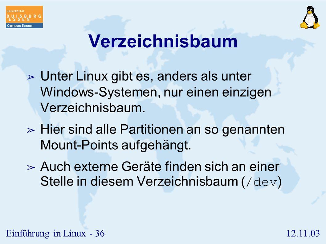 Verzeichnisbaum Unter Linux gibt es, anders als unter Windows-Systemen, nur einen einzigen Verzeichnisbaum.