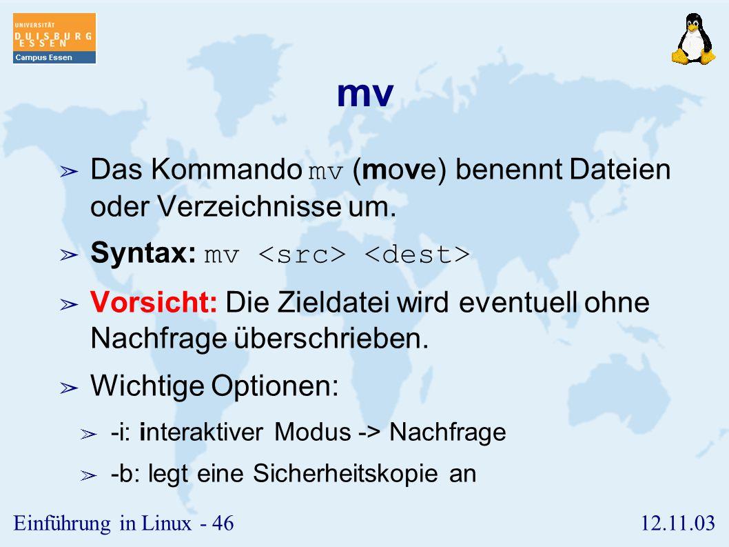 mv Das Kommando mv (move) benennt Dateien oder Verzeichnisse um.