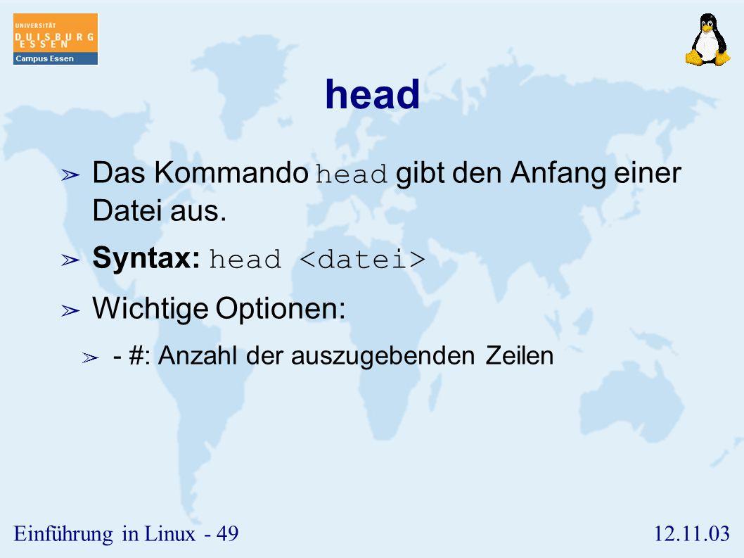 head Das Kommando head gibt den Anfang einer Datei aus.