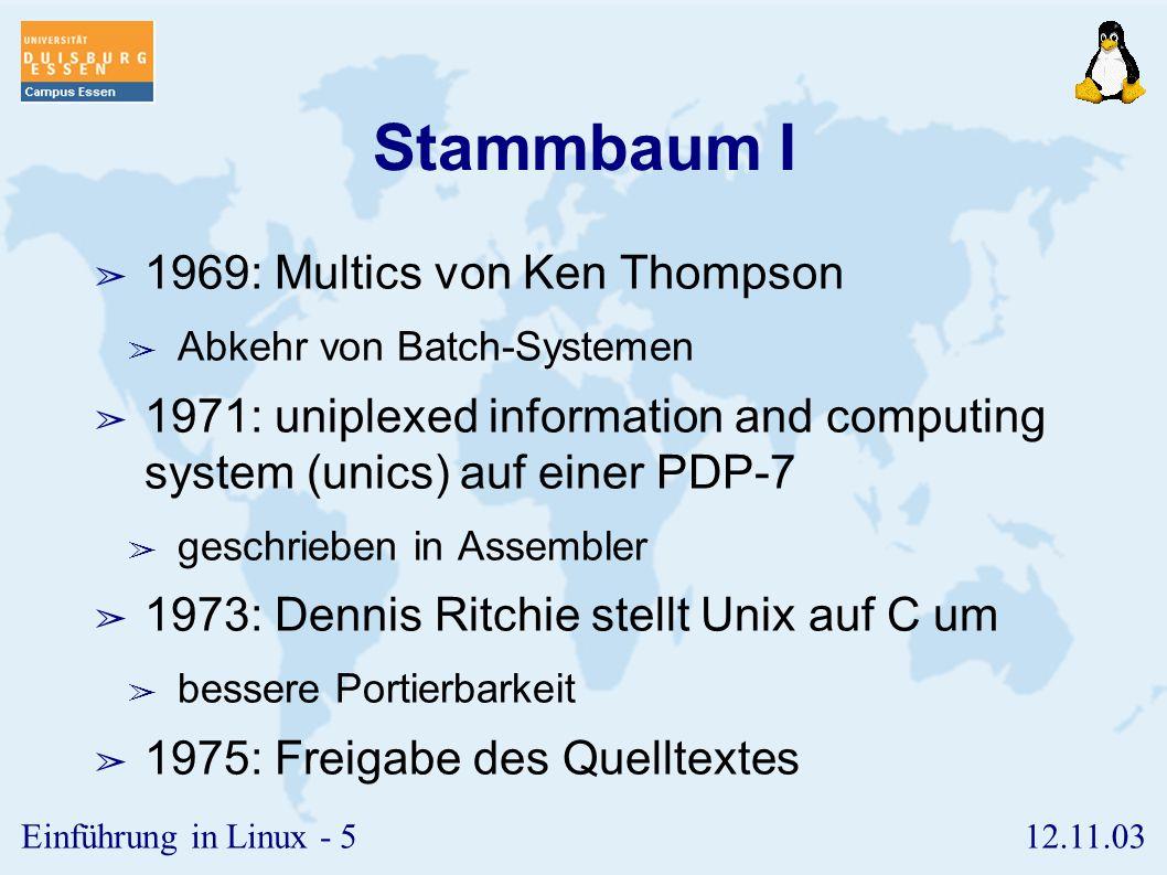 Stammbaum I 1969: Multics von Ken Thompson