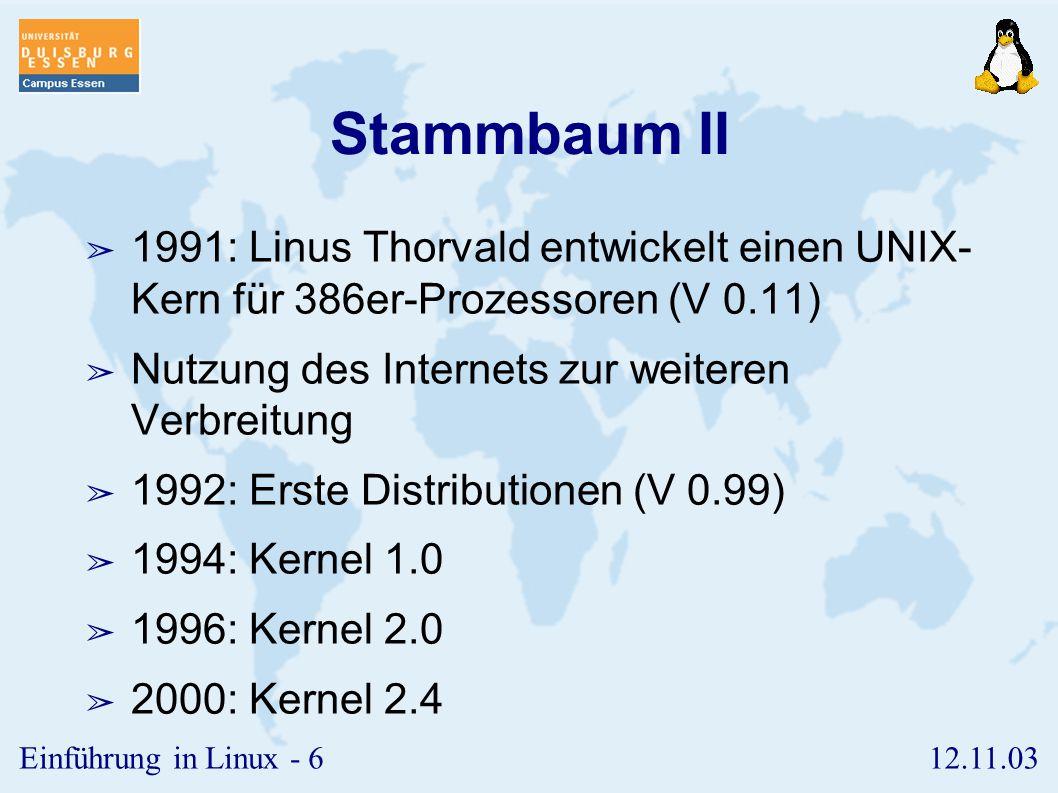 Stammbaum II 1991: Linus Thorvald entwickelt einen UNIX- Kern für 386er-Prozessoren (V 0.11) Nutzung des Internets zur weiteren Verbreitung.