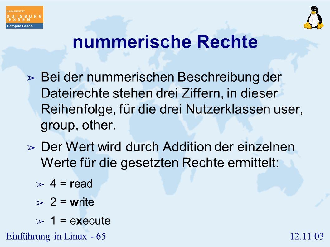 nummerische Rechte