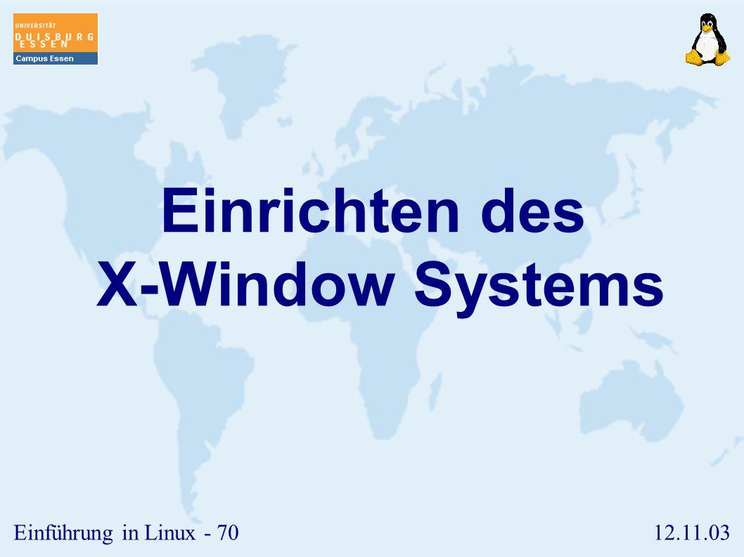 Einrichten des X-Window Systems