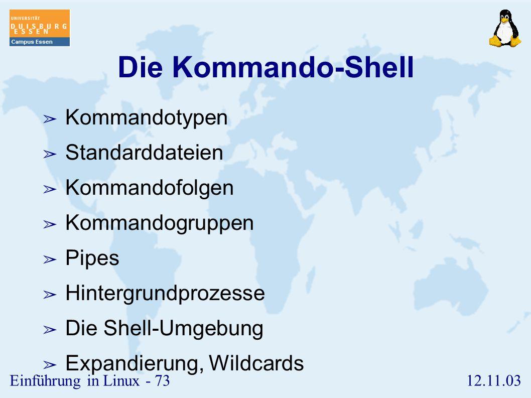 Die Kommando-Shell Kommandotypen Standarddateien Kommandofolgen