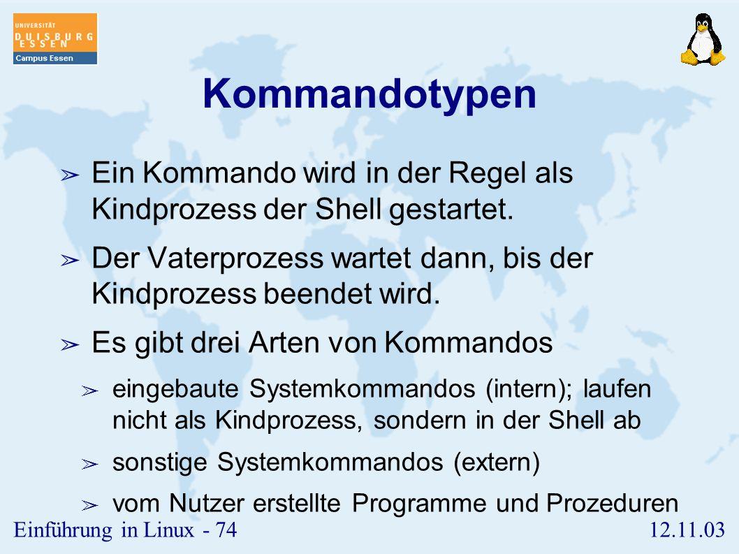 Kommandotypen Ein Kommando wird in der Regel als Kindprozess der Shell gestartet. Der Vaterprozess wartet dann, bis der Kindprozess beendet wird.