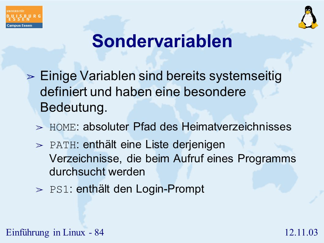 Sondervariablen Einige Variablen sind bereits systemseitig definiert und haben eine besondere Bedeutung.