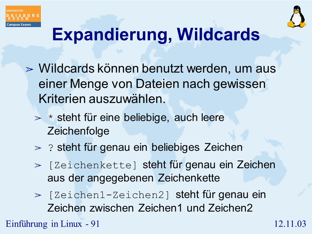 Expandierung, Wildcards