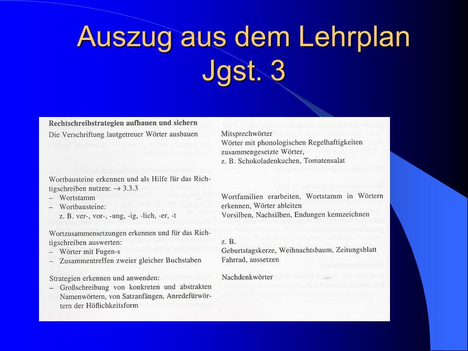 Auszug aus dem Lehrplan Jgst. 3