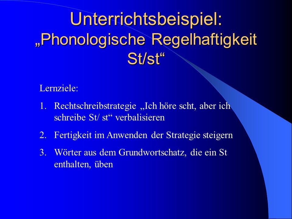 """Unterrichtsbeispiel: """"Phonologische Regelhaftigkeit St/st"""
